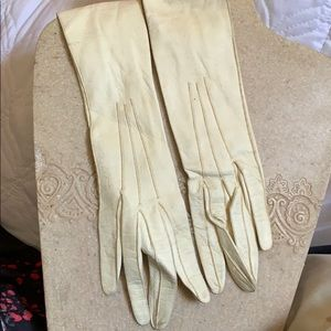 """Vintage girls long leather gloves 16"""" and 2"""" wrist"""